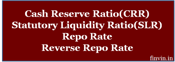 What is CRR, SLR, Repo Rate and Reverse Repo Rate?